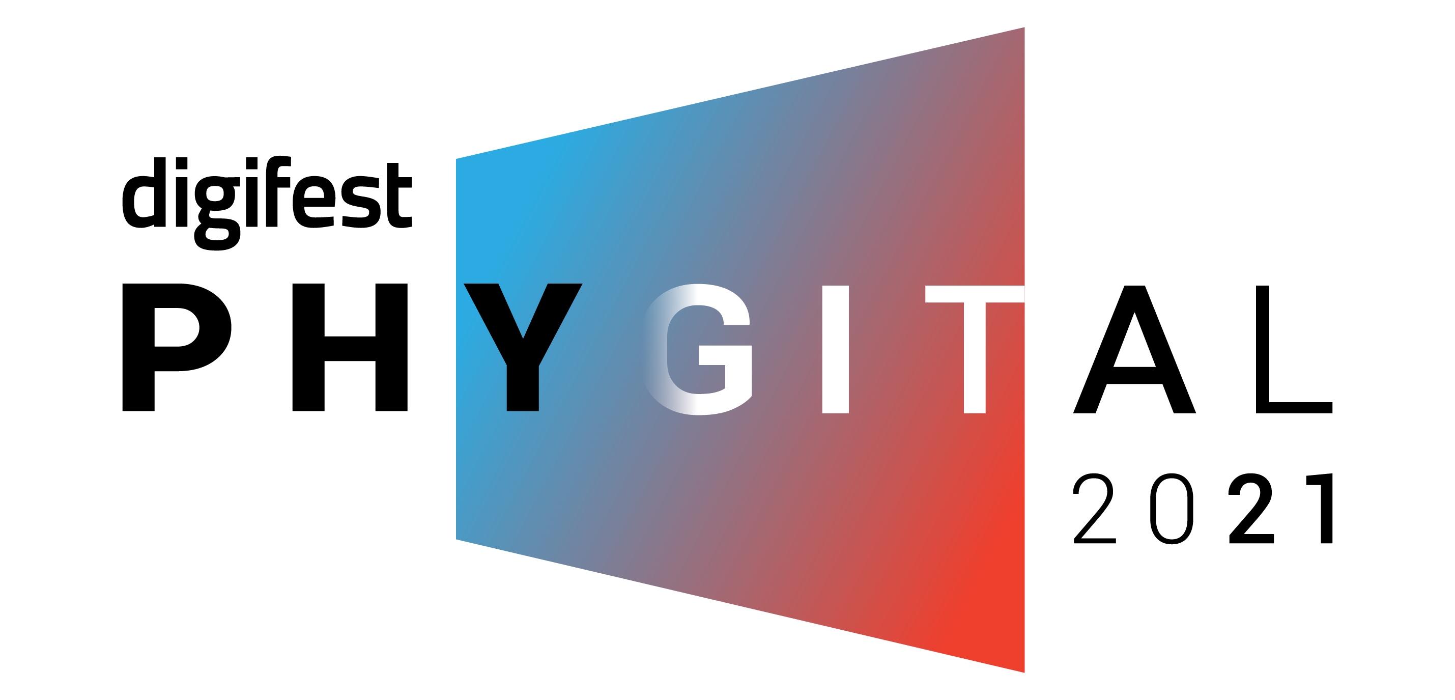 Digifest logo of rectangle blue and red gradient. Text says digifest, Phygital and 2021.