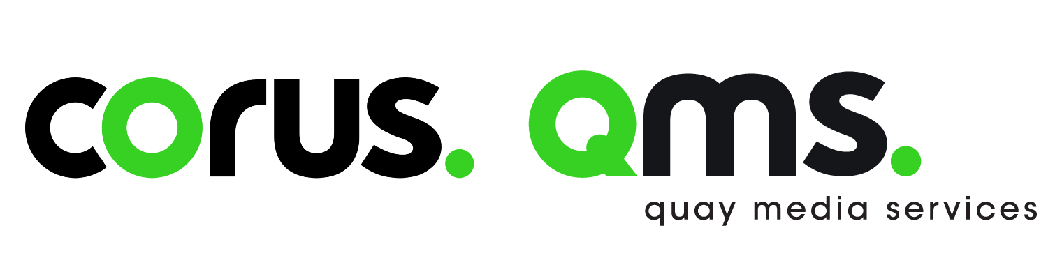 Corus logo in black with lime green emphasis on the letter o. QMS logo stands for Quay Media Services.