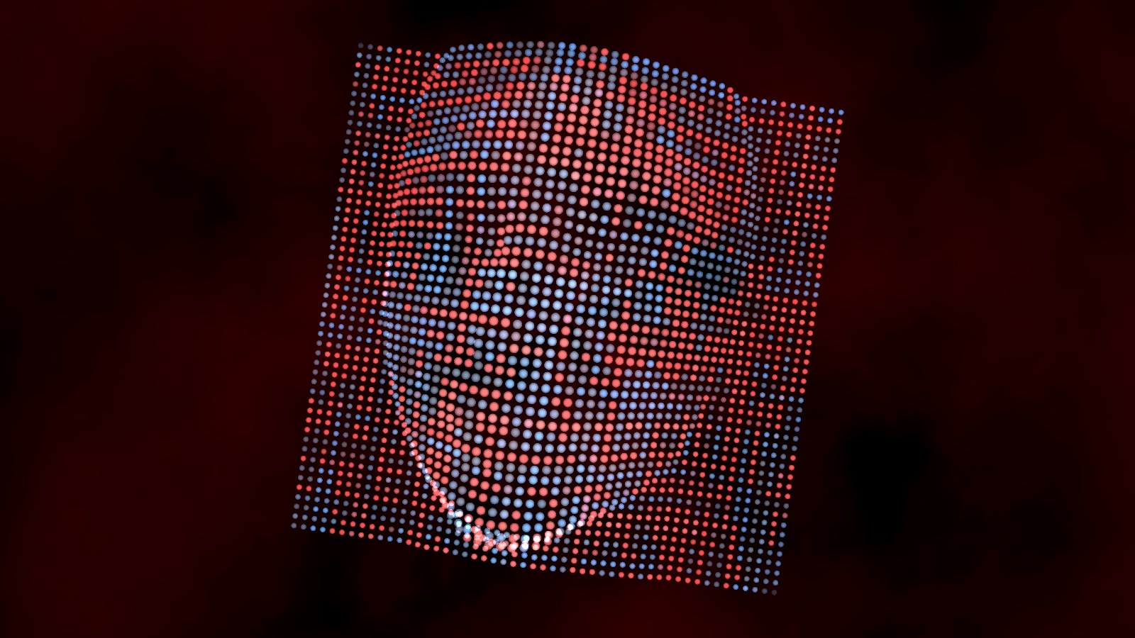 A silhouette of a digital face in blue and red dots.