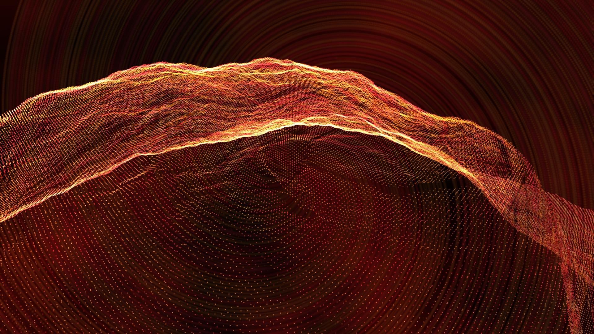 A digital illustration of a warm red and orange swirl with a rock-like texture in the background.