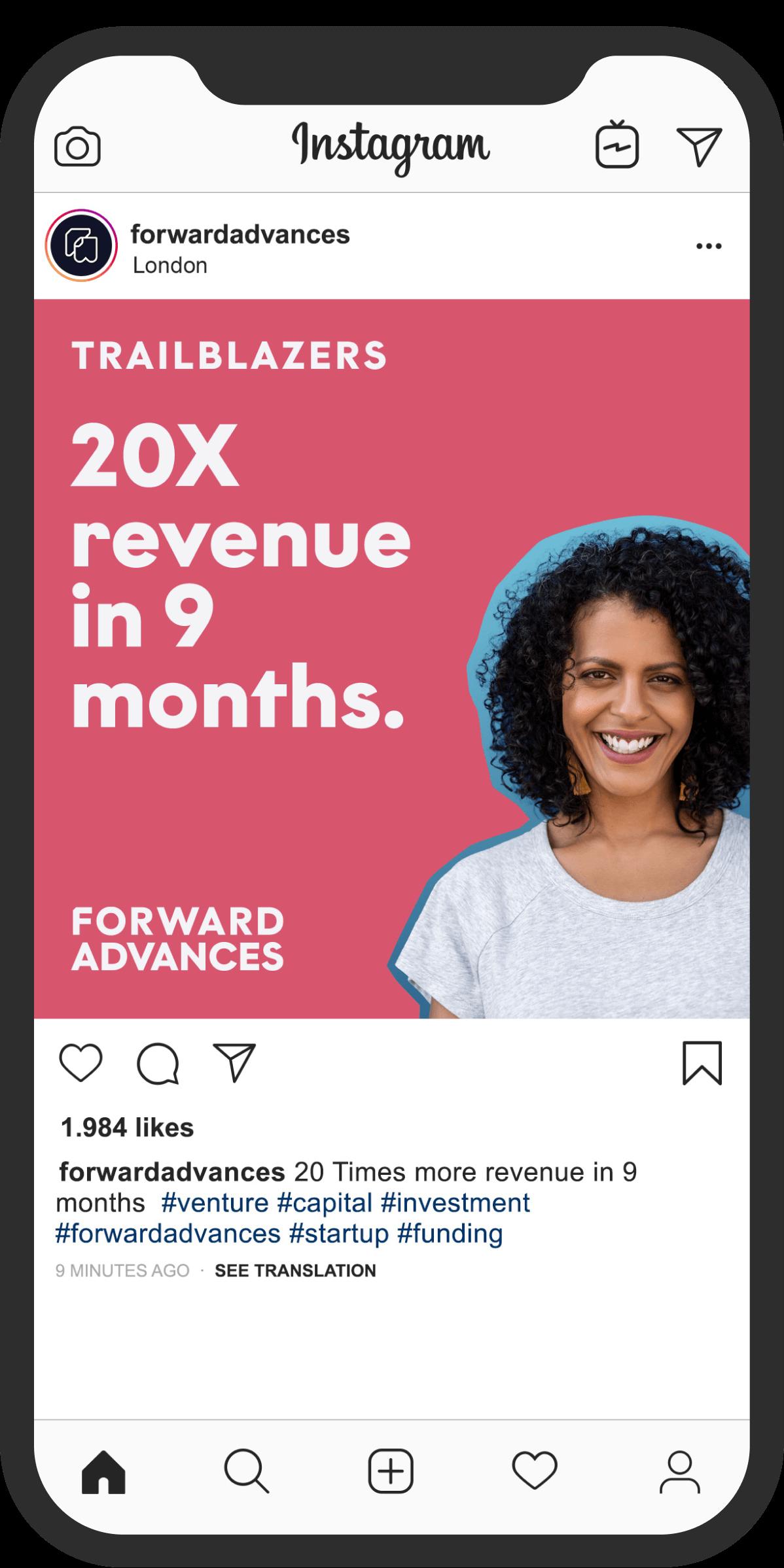 Forward Advances instagram ad in phone mockup.