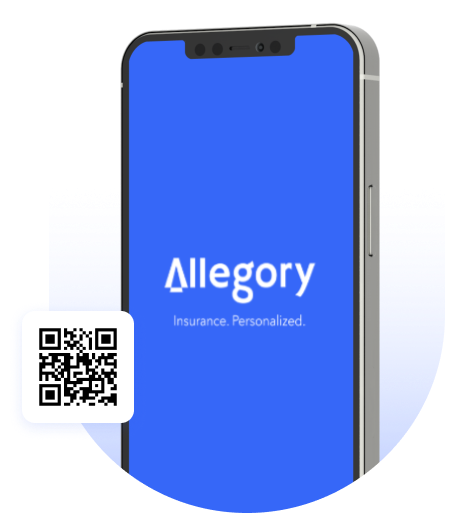 A show-case image depicting the Allegory App with a QR code on it for users to scan it via their mobile phone's camera to go directly to the download the app page.