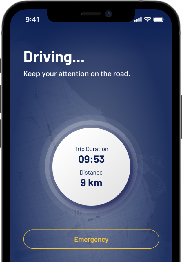 A snippet from the Allegory App that shows your driving time and distance in real time with an emergency button to use when you have an emergency while driving.