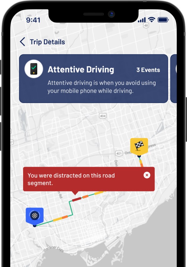 A snippet from the Allegory App that shows how drivers can review their risky driving events on a dynamic map.