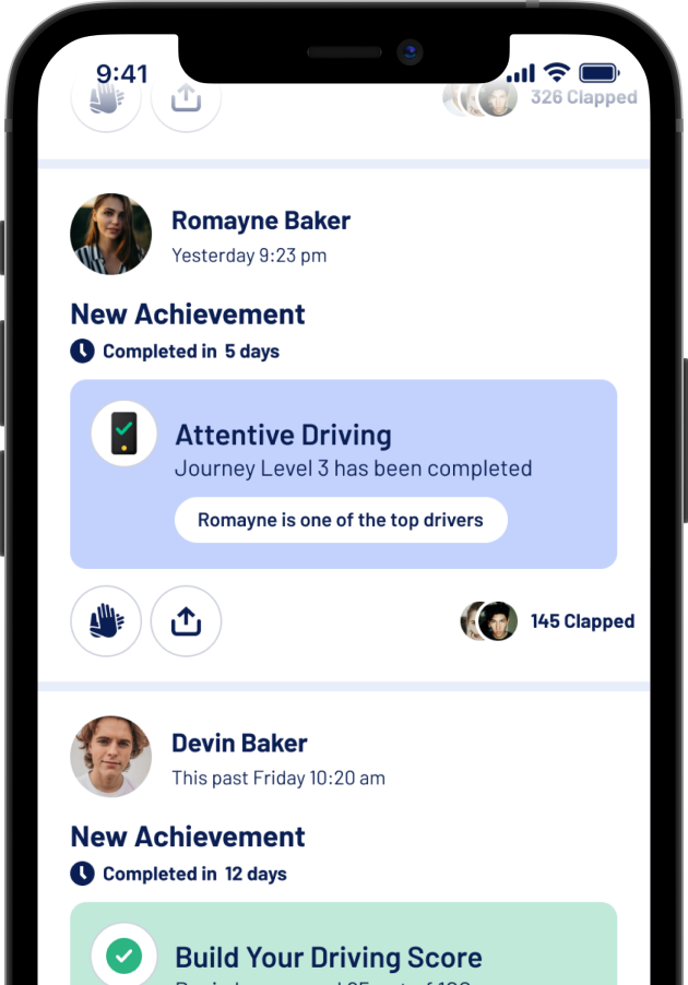A snippet from the Allegory App that shows how you can share your safe driving achievements with your friends, family and other connections you have made on the Allegory App.