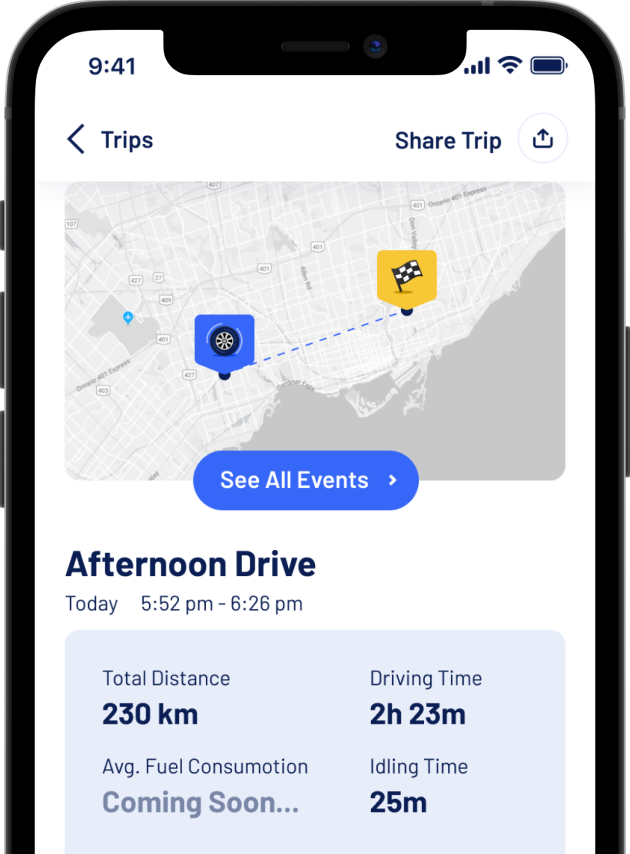 A snippet from the Allegory App that shows how you can review your past trips on the mobile application.