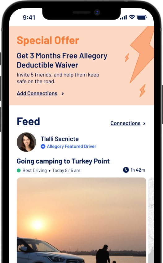 A snippet from the Allegory App that shows the Home Page, a Live Feed and a special offer to reduce your premium.