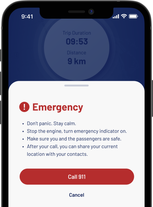 A snippet from the Allegory App that shows how you can request emergency services while driving by using a single emergency button on the Allegory App.