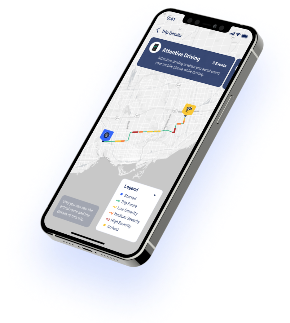 Allegory App showcase image depicting how you can review your risky events on a dynamic map in your previous trips to improve your driving.
