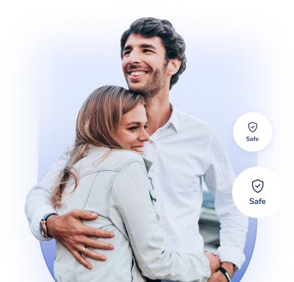 An image of a happy couple using the Allegory App to stay safe on the road and save on insurance at all times.