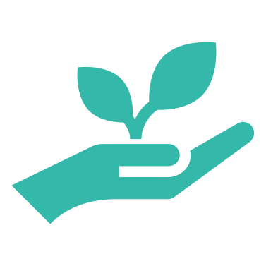 A hand icon holding a plant