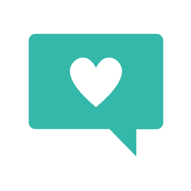 A speech bubble with a heart, representing a brand