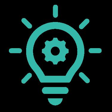 A cogwheel inside a light bulb representing efficiency and process optimization