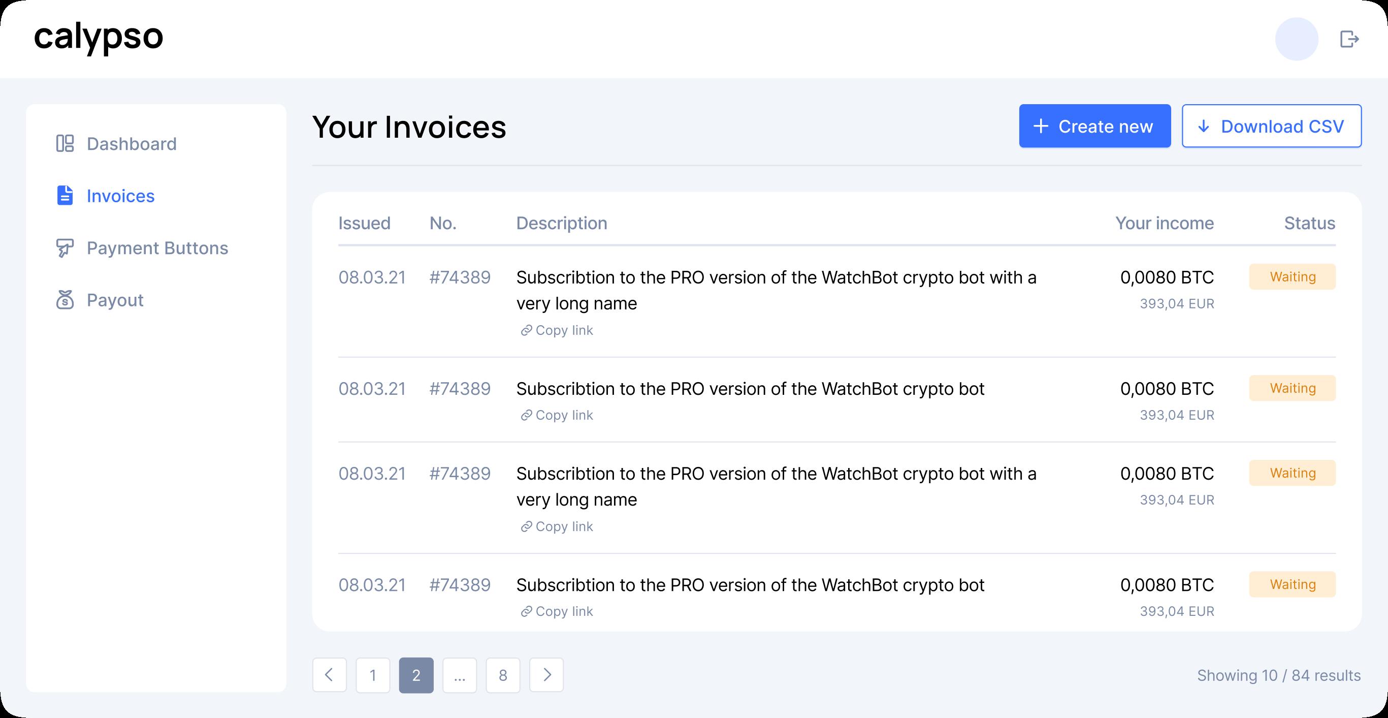 Dashboard invoice