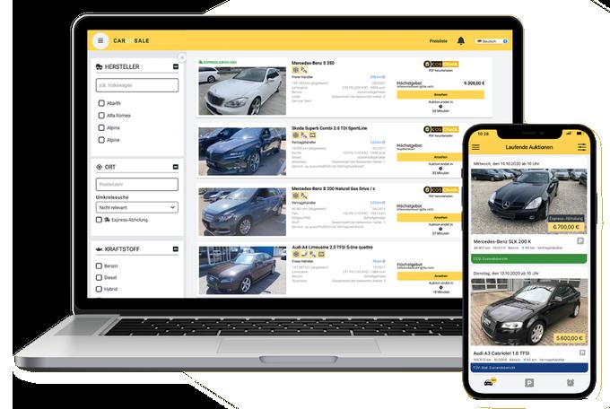 Zrzut ekranu CarOnSale z platformy sprzedaży pojazdów dla dealerów