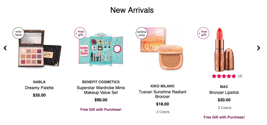 New arrivals product recommendations