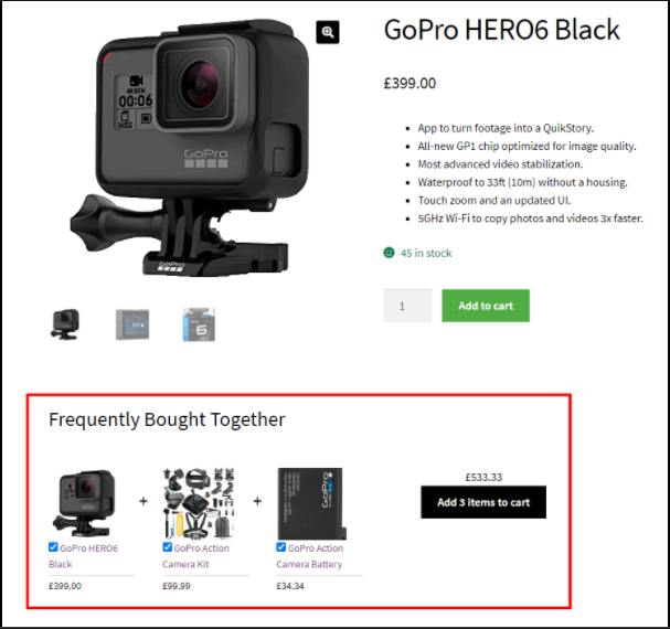 Frequently bought together product recommendation