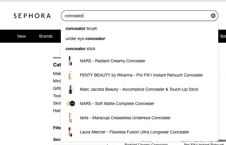 Sephora autocomplete