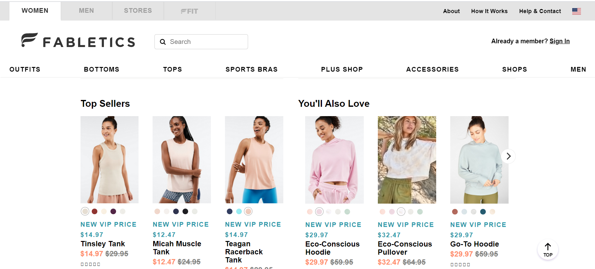 """Fabletics """"You'll Also Love"""" and """"Top Bestsellers"""" categories boost user engagement"""