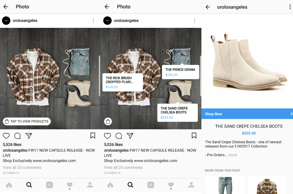 ORO LA's 'Shopping on Instagram' feature empowers customers to 'tap' on products and shop effortlessly