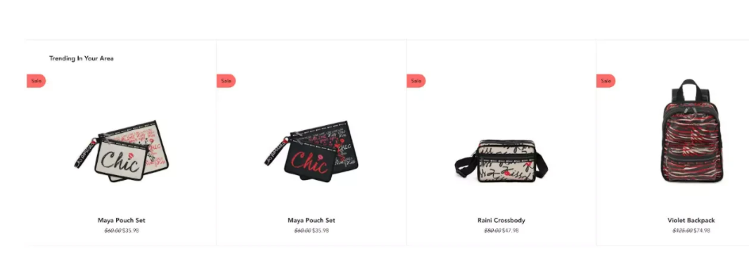 LeSportsac's product page uses geolocation to personalize its offering