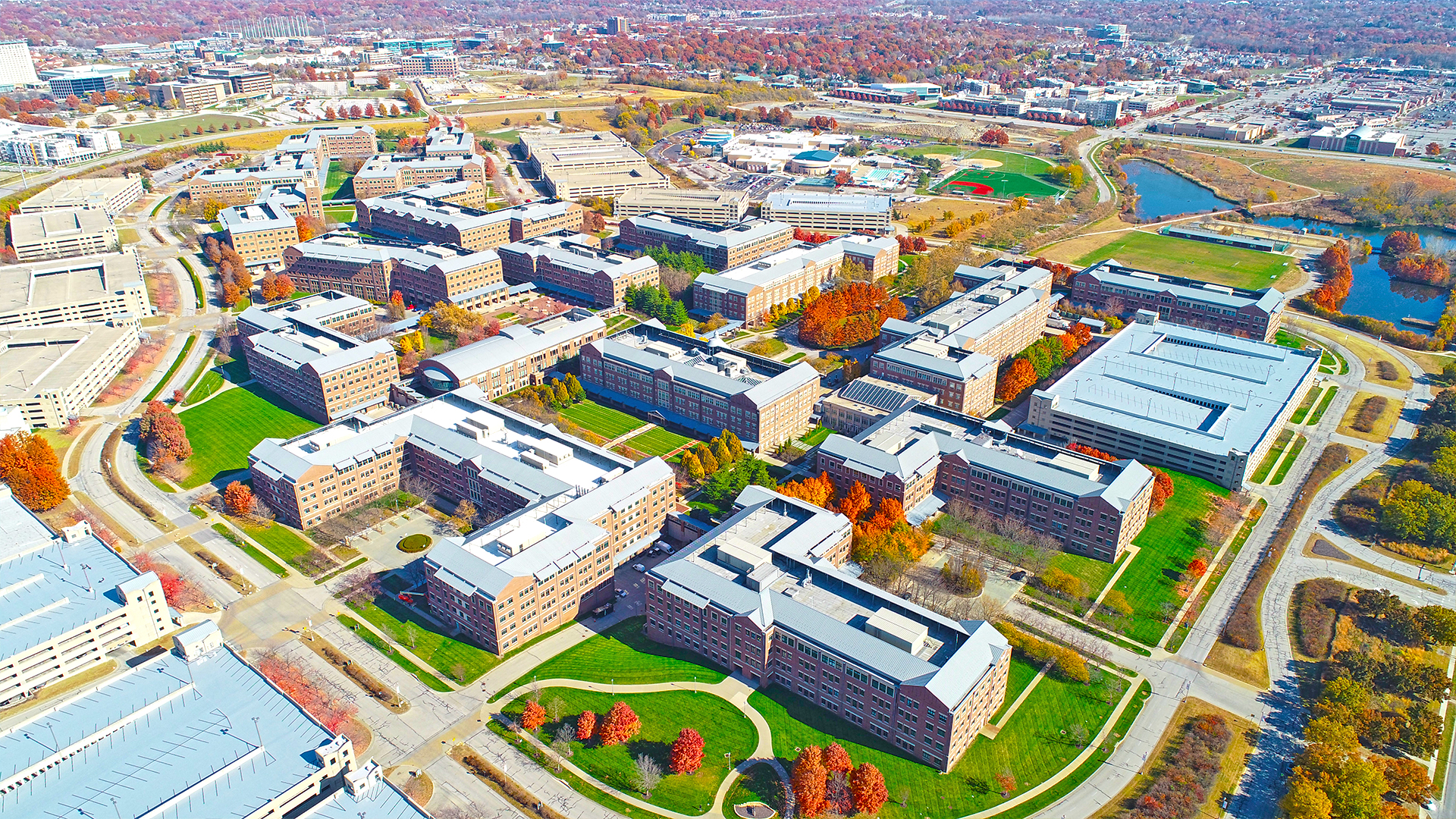 An aerial shot of the Aspiria campus highlighting some of the parking garages.