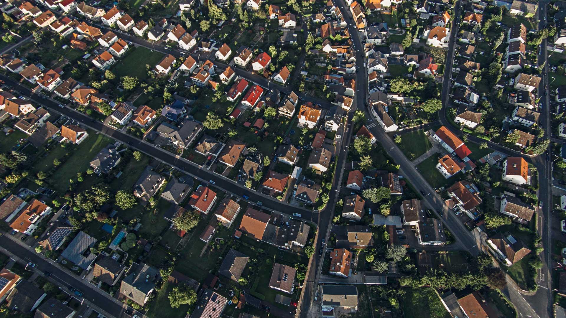 A neighbourhood from a birds' eye view.