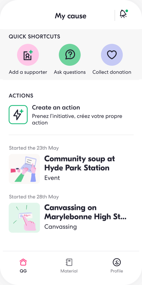 Organize your team's logistics, and your volunteers locally: Canvassing, Event, Community Soup, Charity event, Rally, Door-to-door, calling list, Peer-to-Peer organising, etc.
