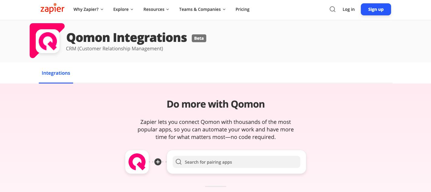 integration qomon zapier app mobile web plateforme