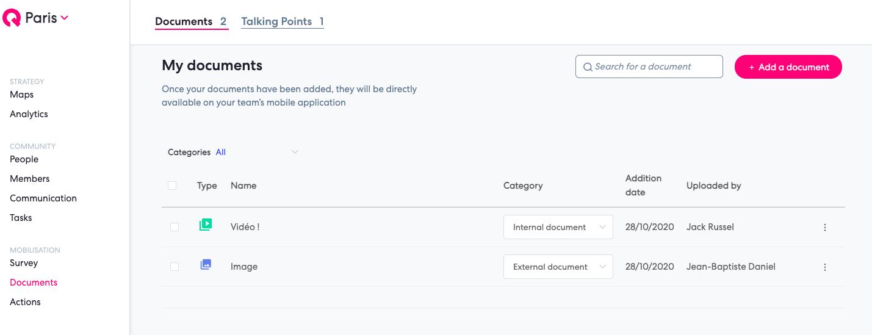 share material documents qomon mobile app platform web