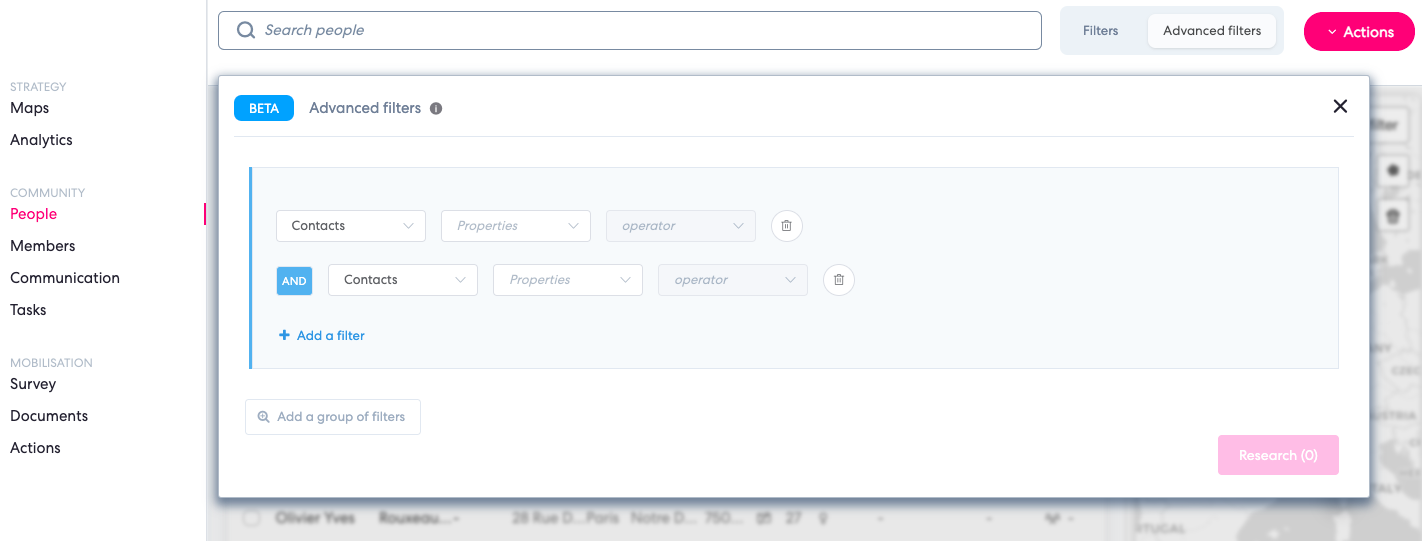 advanced search filter qomon platform web mobilisation