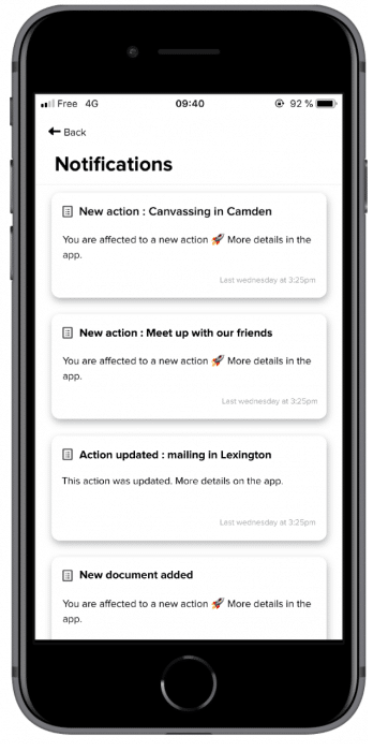 notifications rappel mobile app qomon