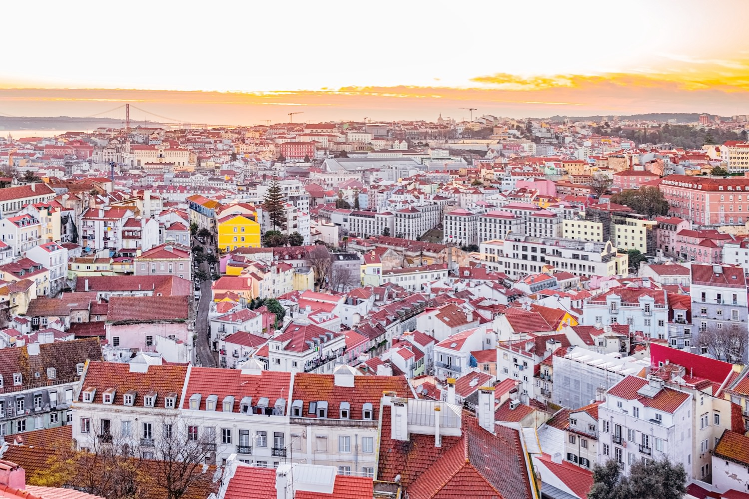 view of homes in Lisbon, Portugal