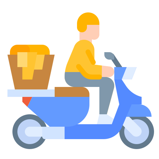 A man riding on a scooter Icon, symbolizing delivery