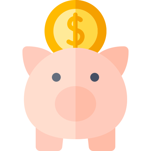 A piggy bank icon, symbolizing the money saved though Lessly.