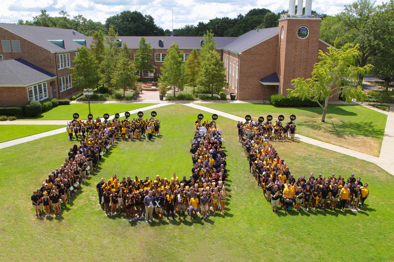 Aerial photo of freshman class