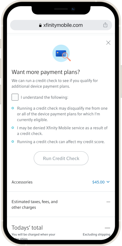 Design of overlay showing user the option to run an external credit check if they want alternative methods to checking out.
