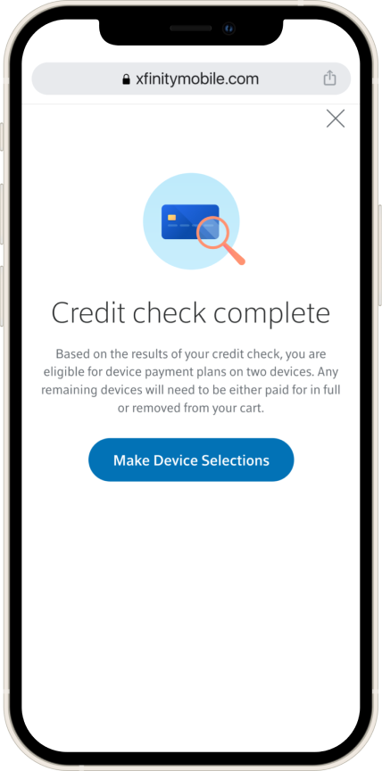 Design of a modal that gives the result to the user after they run a credit check