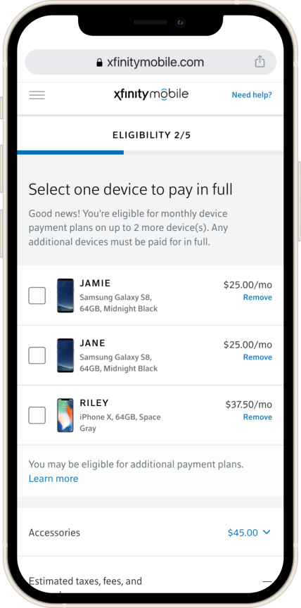 Design for the device selection screen where user needs to pick the device they would like to pay in full to continue with checkout.