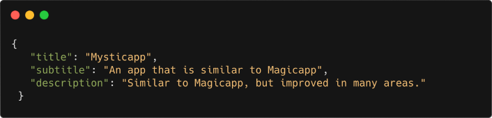 Code snippet showing JSON data of a fictional app called Mysticapp.