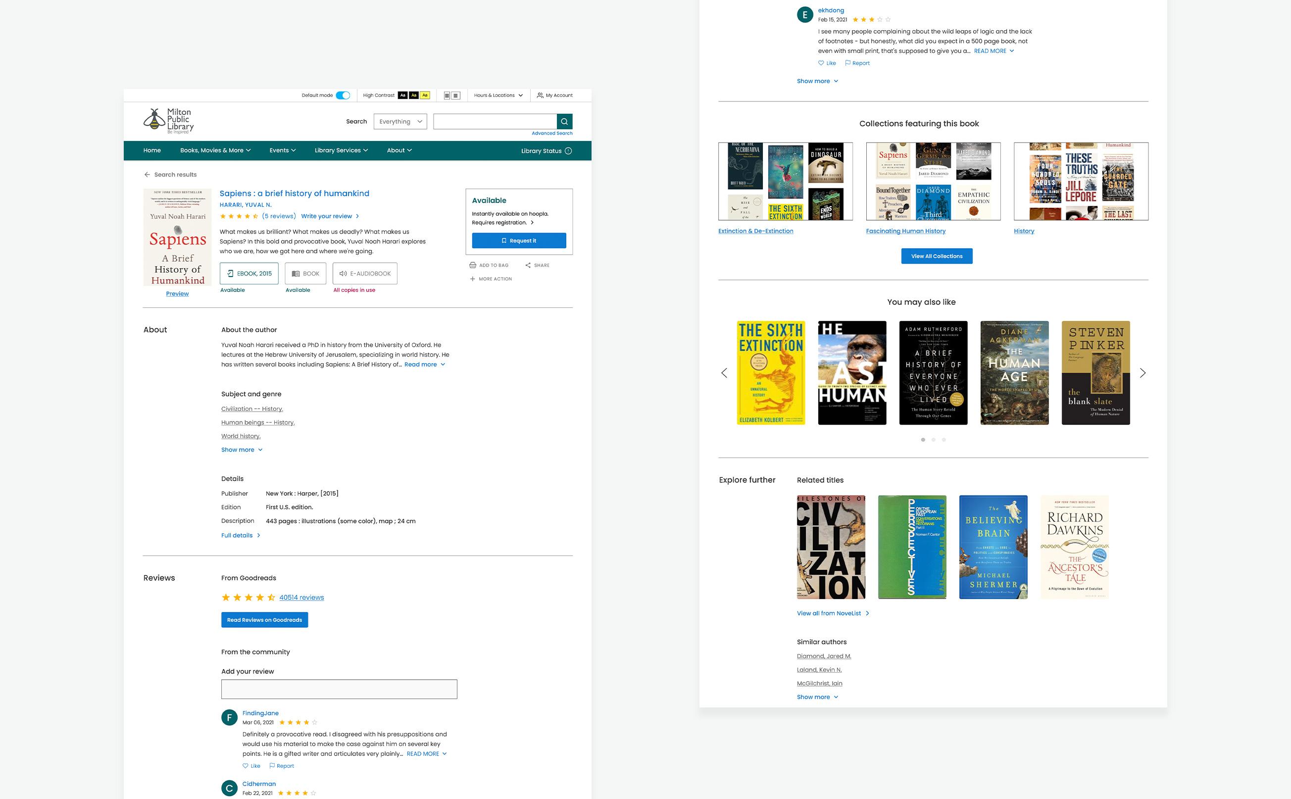Milton Public Library Detail page