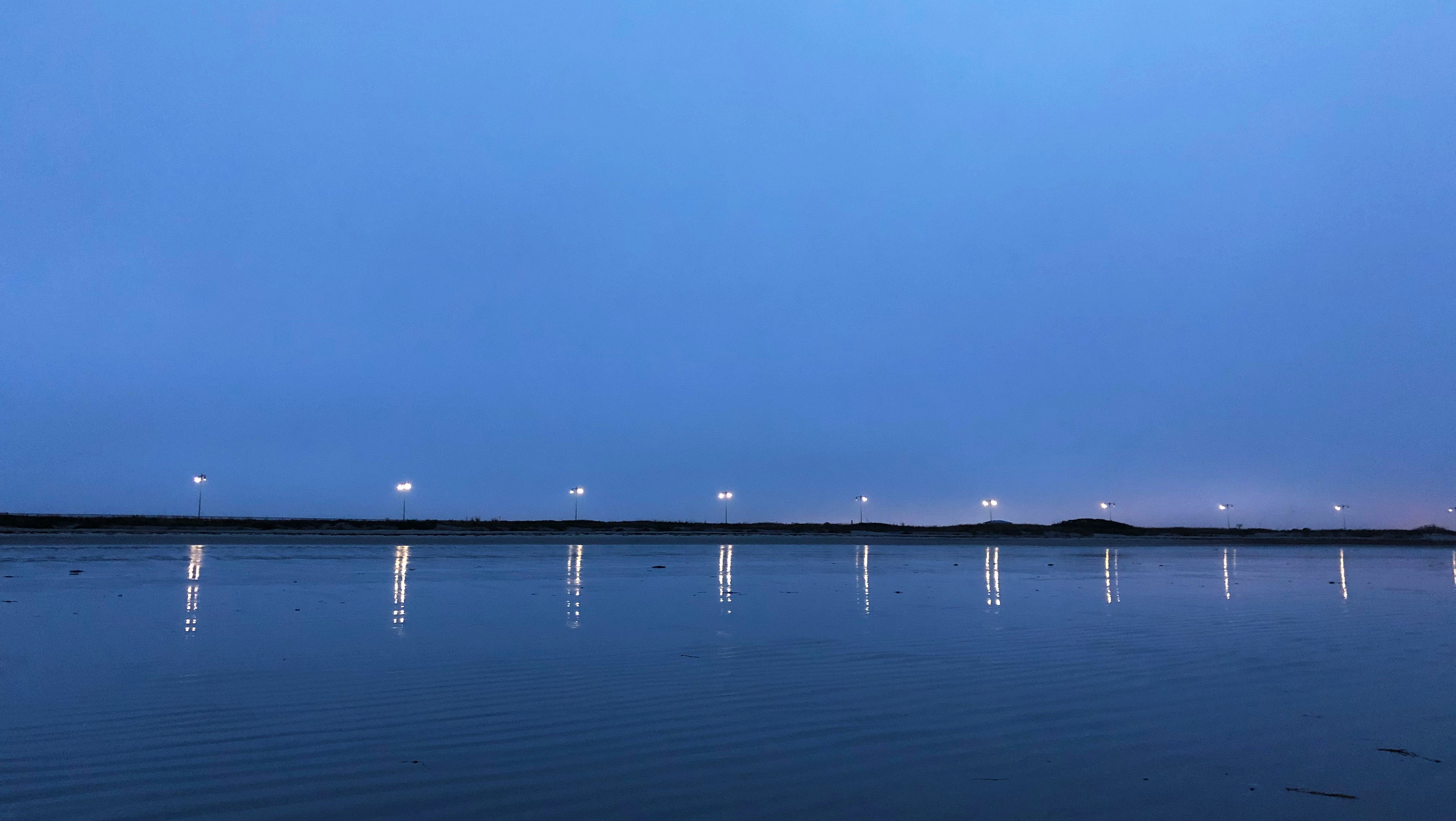 Photo - a row of lights by the sea