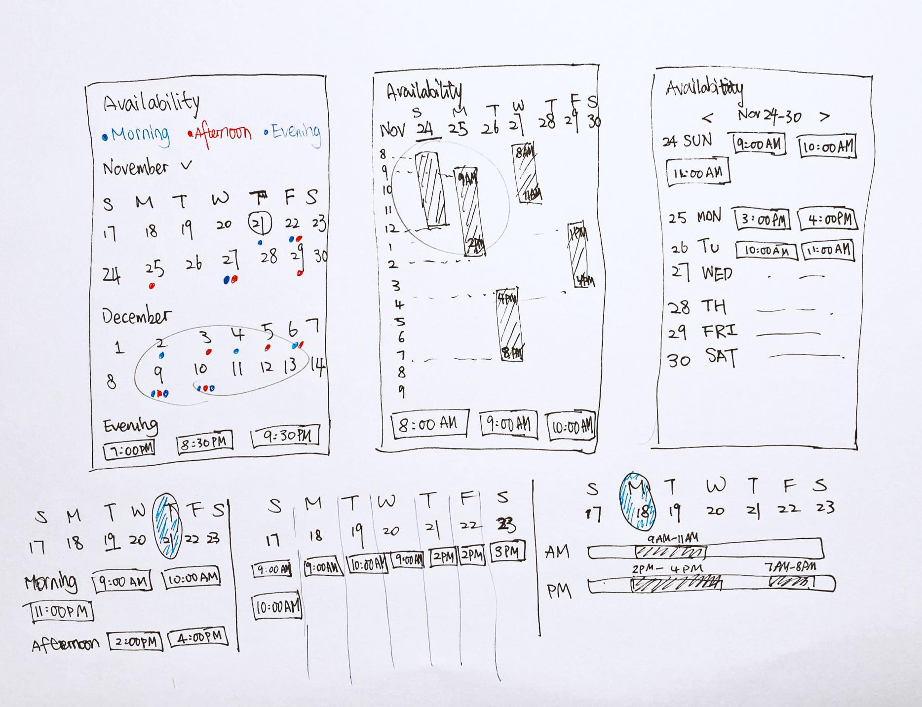 BrighterU App challenge sketch low-fi