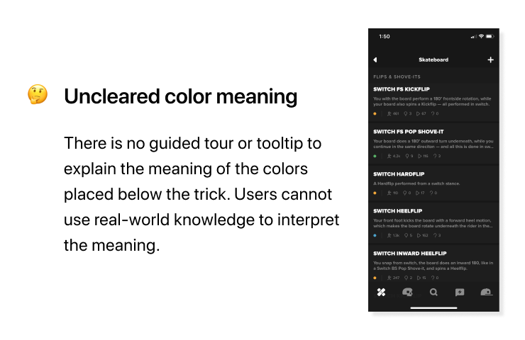 RIDERS usability issues - Uncleared color meaning