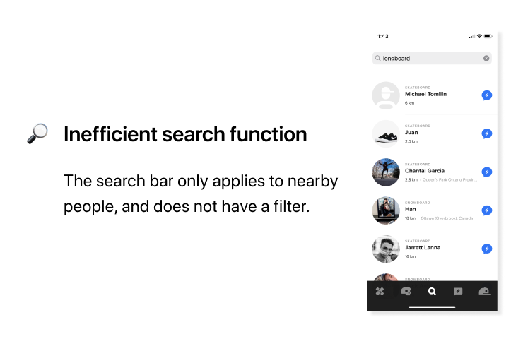 RIDERS evaluation - inefficient search function