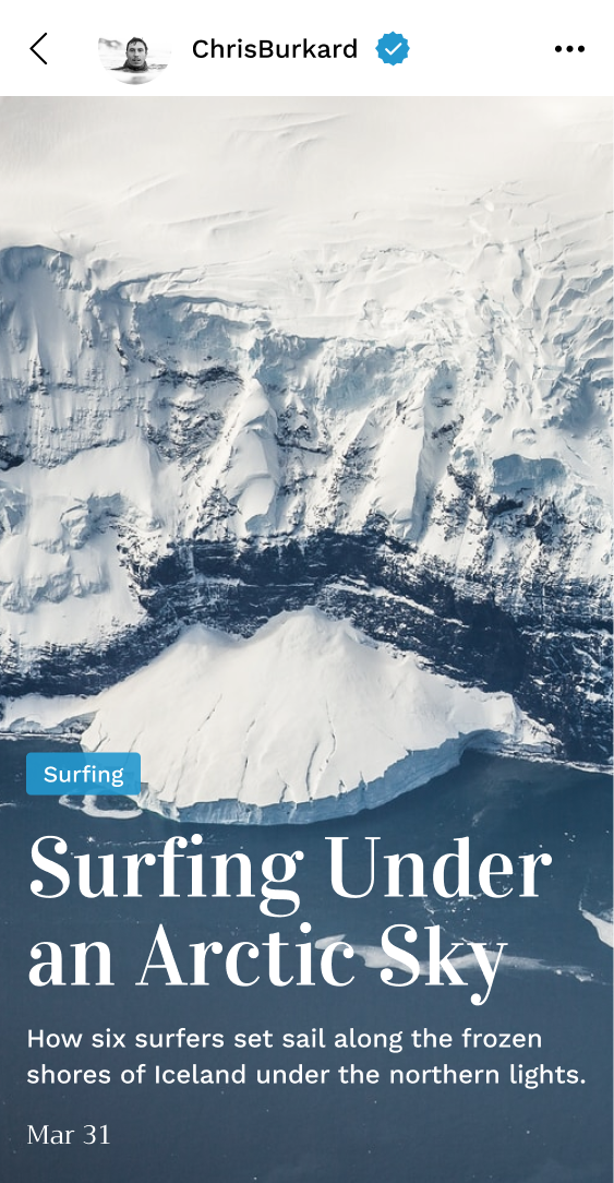 Surfing under an arctic sky article cover