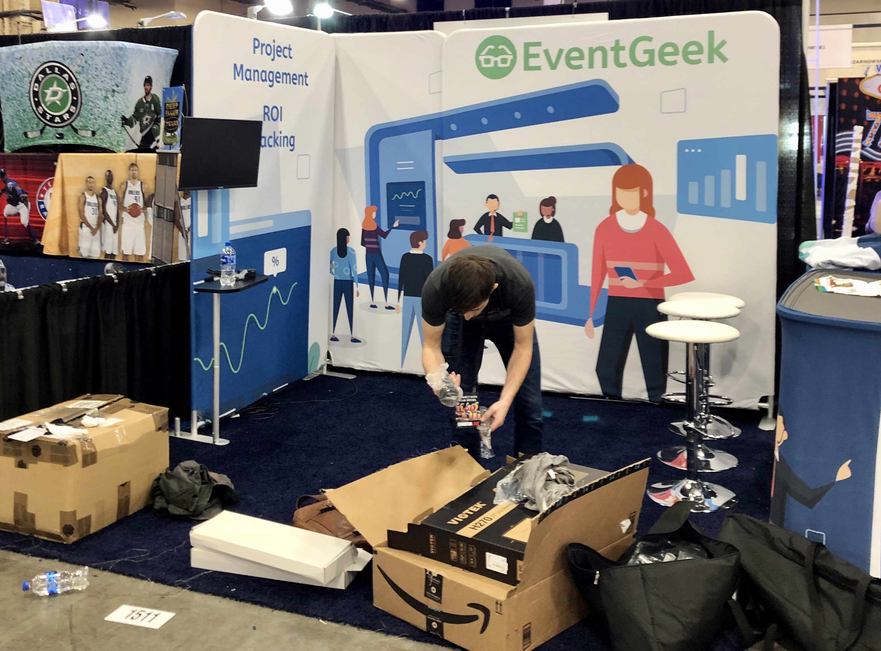 EventGeek booth setup at ExhibitorLive