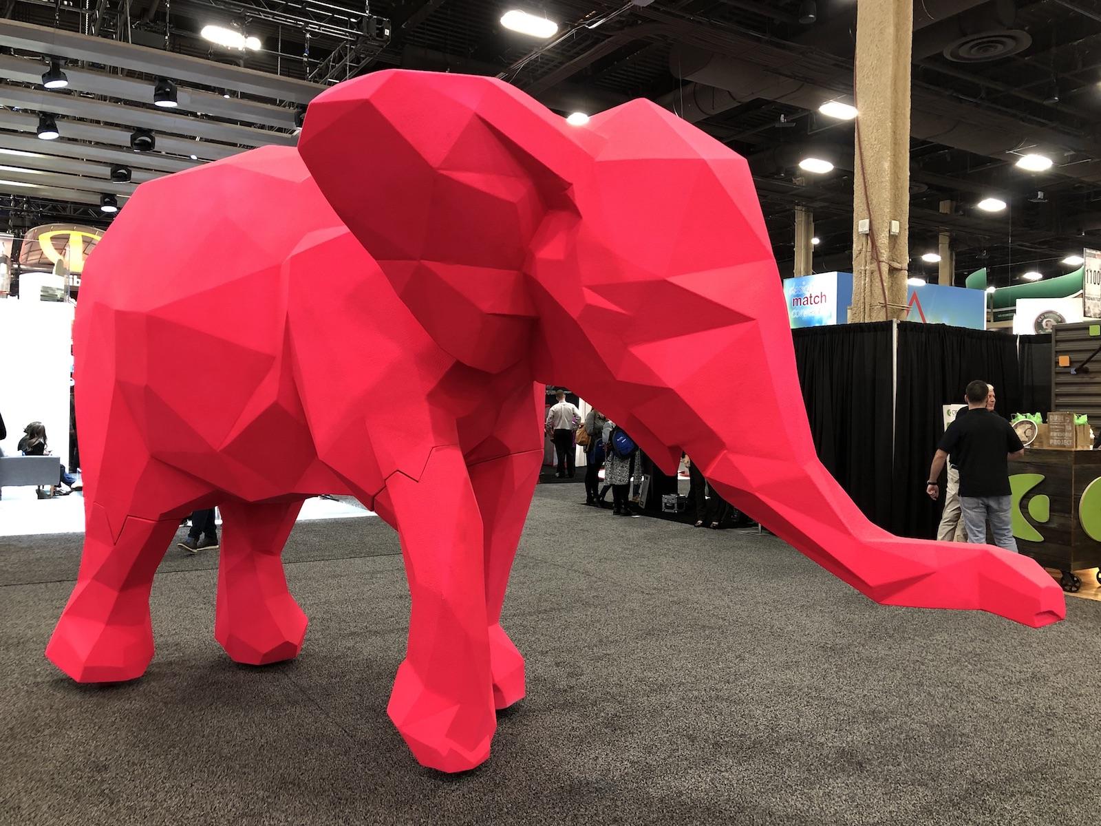 giant pink elephant at ExhibitorLive 2019