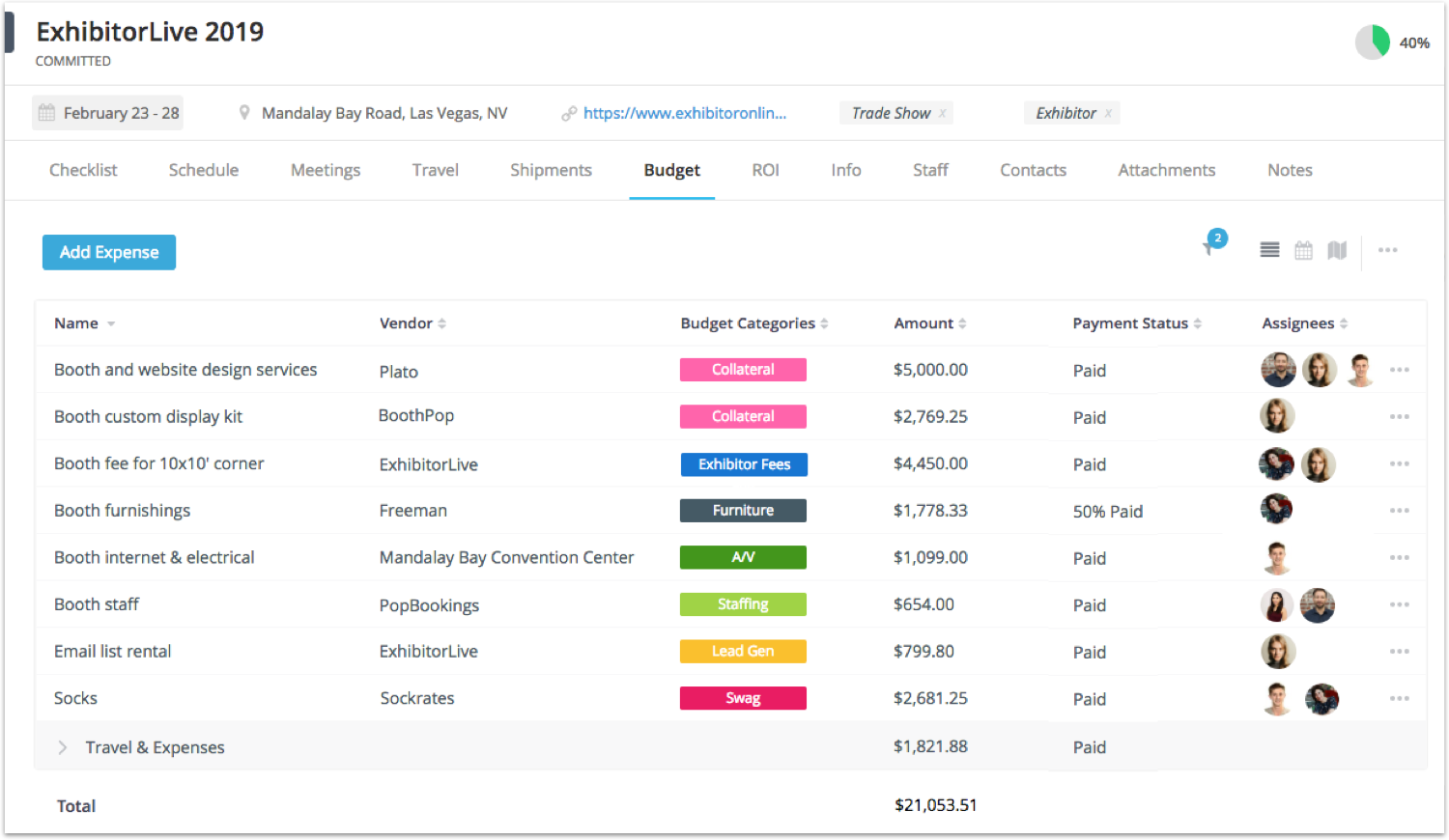EventGeek event budget tracking