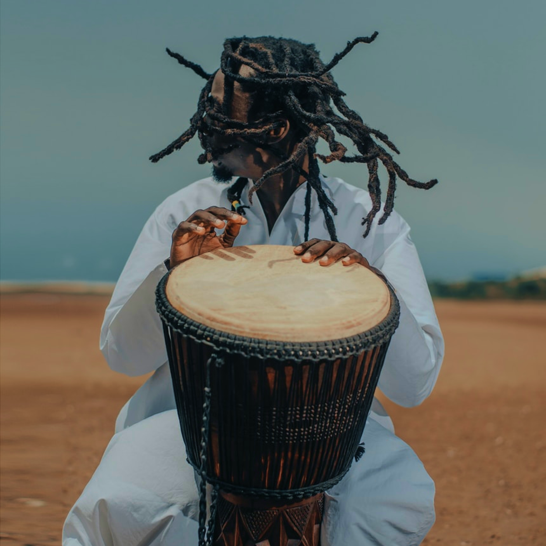 A musician playing an instrument.